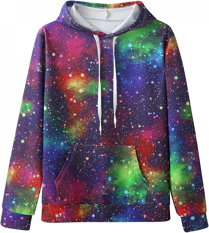 Huangse Galaxy Sweatshirt for Men Universe T-Shirt Space Hoodie 3D Print Nebula Pullover with Pocket Long Sleeve Sportswear