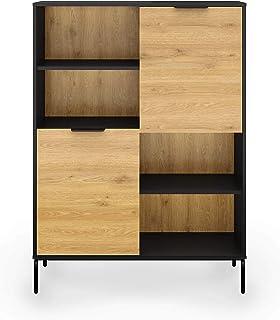 Deco In Paris Tamara - Aparador de 2 puertas y 2 estantes de madera y metal color negro