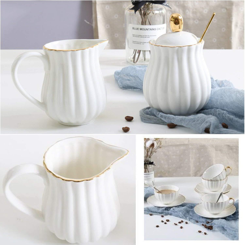 Golden Edge Ceramic Coffee Pot Porcelain European Afternoon Tea Set High-grade Water Pitcher With Barista Sugar Milk Jug,800ML