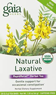 Gaia Herbs Natural Laxative Herbal Tea, 20 Tea Bags (Pack of 2) - Support for Constipation, Caffeine Free, USDA Organic