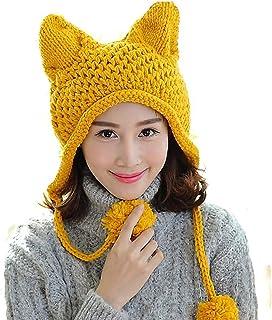 8bdb110020e6bd BIBITIME Women's Hat Cat Ear Crochet Braided Knit Caps Warm Snowboarding  Winter