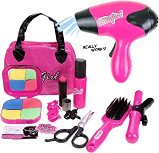 Liberty Imports Kids Beauty Salon Role Playset - Stylish Fashion Toy with Cosmetic Bag, Hairdryer, Curling Iron, Pretend Makeup, Blush Pallet with Mirror & Styling Accessories (12 Piece Set)