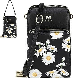 Travistar Handy Umhängetasche Damen Schultertasche Kleine Handytasche PU-Leder Crossbody Tasche für Handy unter 7 Zoll - Verstellbar Abnehmbar Schultergurt - Geldbörse Brieftasche,Gänseblümchen