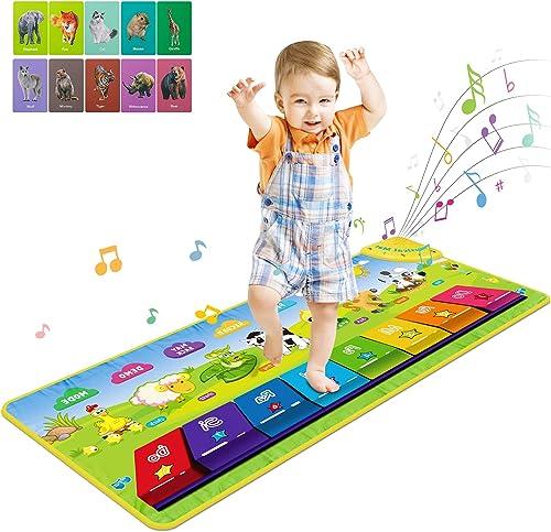 RenFox Tapis Musical, Tapis de Jeu Piano Enfants, Tapis de Musique avec des 7 Sons d'Animaux, Tapis de Danse pour béb...