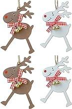 Meadowlark Manufacturing Ltd Set of 4 Wooden Christmas Tree Decorations - Reindeer with Bells