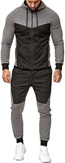 FeMereina Mens Outfits Tracksuit 2PCS Set Patchwork Sweatshirt Jogger Sweatpants Winter T-Shirts Shorts Sports Suits