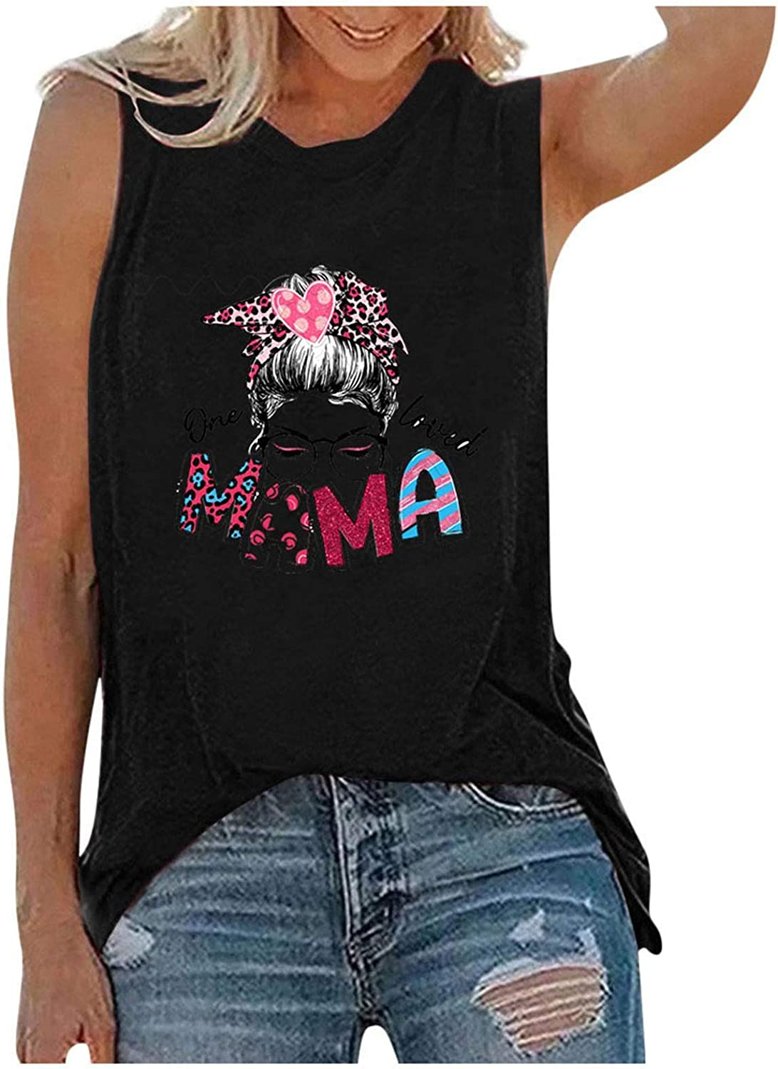 Summer Tops for Women,Womens Summer Tops O-Neck Daisy Print Sleeveless Tank T-Shirts Loose Graphic Blouse