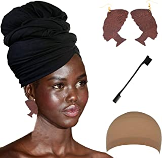 Long Stretch Head Wrap Set- Solid Color African Turban Hair Scarf Tie, Double Sided Edge Control Hair Brush Comb Combo