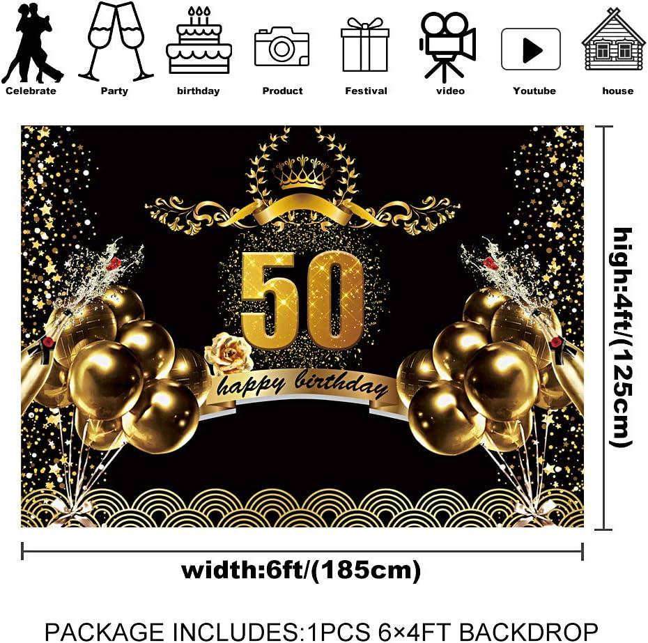6x4 50th Happy Birthday Backdrop 7x5 feet Black and Gold Birthday ...