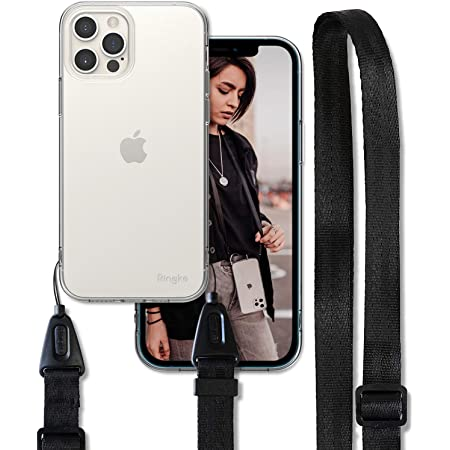Omorro for iPhone 12 Pro Clear Case Adjustable Crossbody Lanyard with Neck Strap for Girls Women Girly Transparent Thin Slim Flexible Soft TPU Gel Frame PC Back Shockproof Protective Case Gray