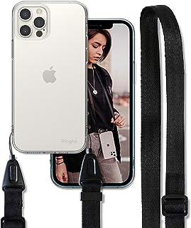 Ringke Air Kompatibel mit iPhone 12 Pro Max Hülle Handykette Umhängenband [Clear mit Black] Durchsichtige Flexibles TPU Rahmen