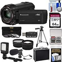 Panasonic HC-VX981 Wi-Fi 4K Ultra HD Video Camera Camcorder with 64GB Card + Hard Case + Tripod + LED Light + Mic + Filters + Tele/Wide Lens Kit