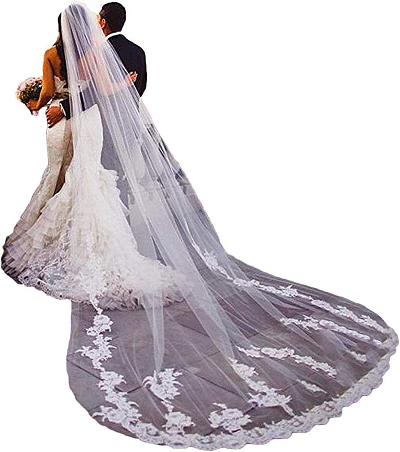 Cathedral Wedding Veils Ivory 1 Tier Floral Lace for Bride Long with Comb