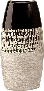 Lifestyle & More Vase déco Moderne Vase à Fleur Vase en céramique Anthracite/Argent Hauteur 26 cm