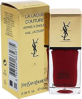 Yves Saint Laurent La Laque Couture 01 Rouge Pop Art for Women Nail Polish, 0.34 Ounce