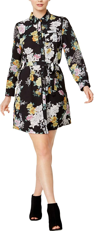 Maison Jules Womens Floral-Print Shirt Dress