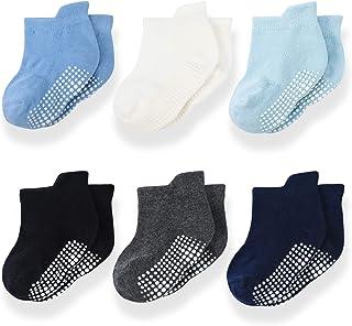 Momcozy, Calcetines Bebe Calcetines Antideslizantes Niño/Niña Cortos Calcetines Tobilleros para Bebé Recién Niñas de 0 a 36 Meses 4/6/12 Pares