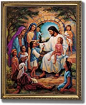 Jesus Christ With Children Religious Home Decor Wall Picture Gold Framed Art Print