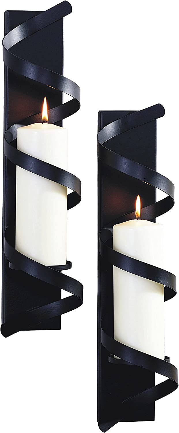 ArtMaison.ca Twist Import Max 66% OFF II Metal with Sconce Blac Glass 4x18 Candle