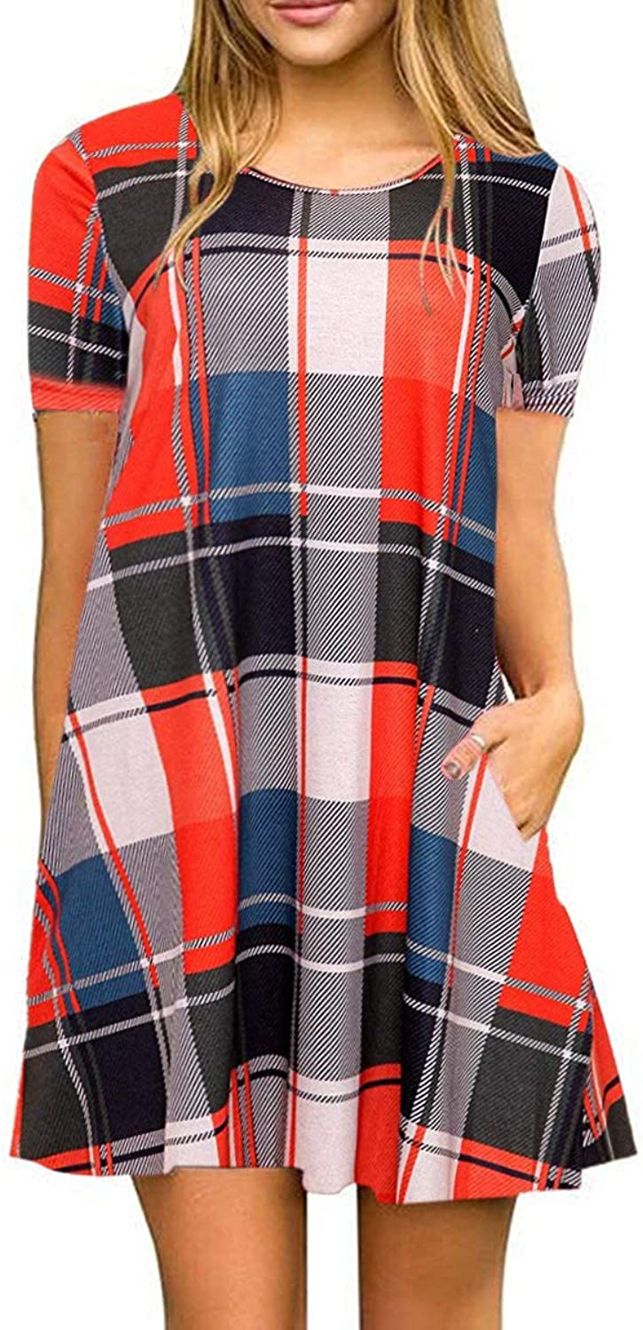 BOOSOULY Ladies Short Sleeve Plaid Flannel Loose Vacation Dress with Pockets orange M