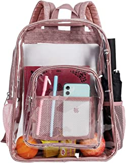 Clear Backpack,  Heavy Duty See Through Backpack,  16 Transparent Large Backpack for College-Pink