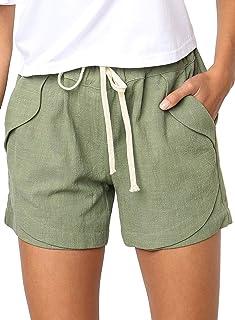 BLENCOT Women's Drawstring Elastic Waist Casual Solid Comfy Cotton Linen Beach Shorts