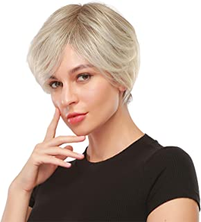 EMMOR Short Blonde Wig for Women - Natural Synthetic Hair Pixie Cut Wigs With Bang (2pcs Free Wig Cap)