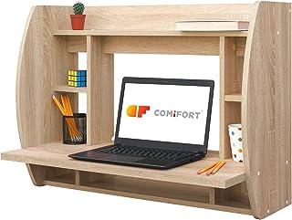 COMIFORT Escritorio Colgante - Mesa de Pared con Librería de Estructura Firme, Moderna y Minimalista con Baldas Espaciosas y de Gran Capacidad, Color Sonoma