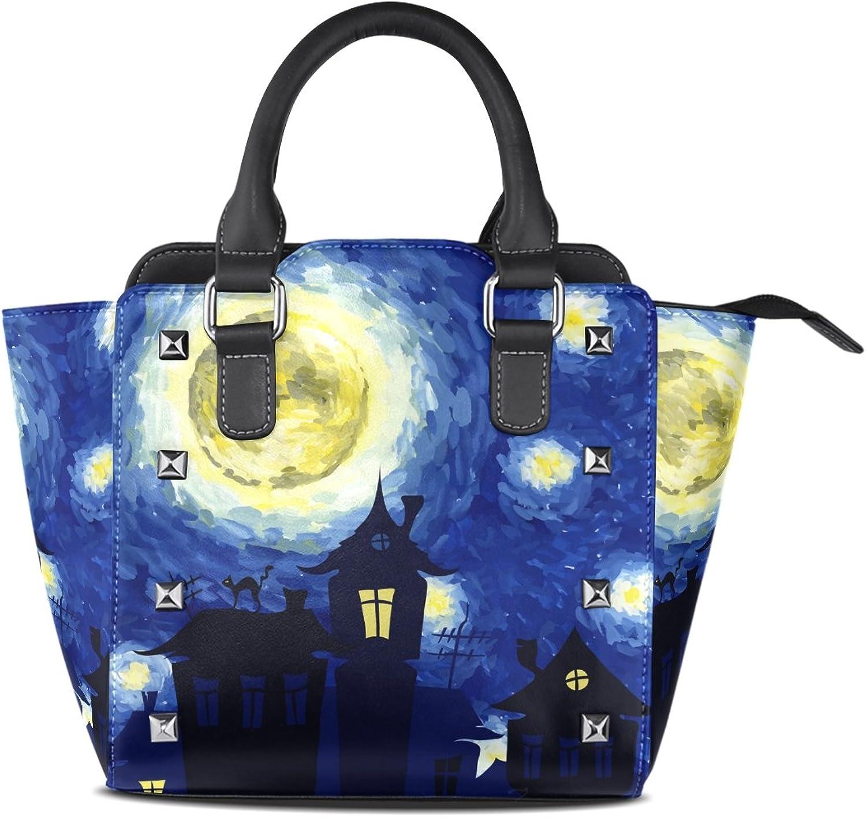 My Little Nest Women's Top Handle Satchel Handbag Halloween Night Oil Painting Ladies PU Leather Shoulder Bag Crossbody Bag