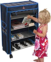 4 Layer Folding shoes racks cabinet handmade kraft with Load Capacity 9 pairs cloth cover multipurpose with Plastic Wheels