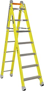 Louisville Ladder FXC1207 Step to Straight Combination Ladder, 7-Foot, Yellow