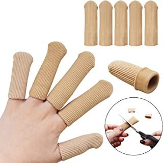 Gel Finger Protectors, Gel Finger Sleeves Support Finger Cots for Arthritis Basketball Mallet Finger Trigger Finger Corn Blister Abrasion (Fabric and Silicone Caps)