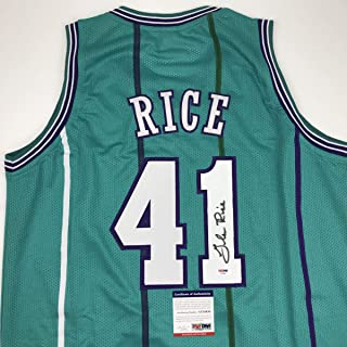 Autographed/Signed Glen Rice Charlotte Teal Basketball Jersey PSA/DNA COA