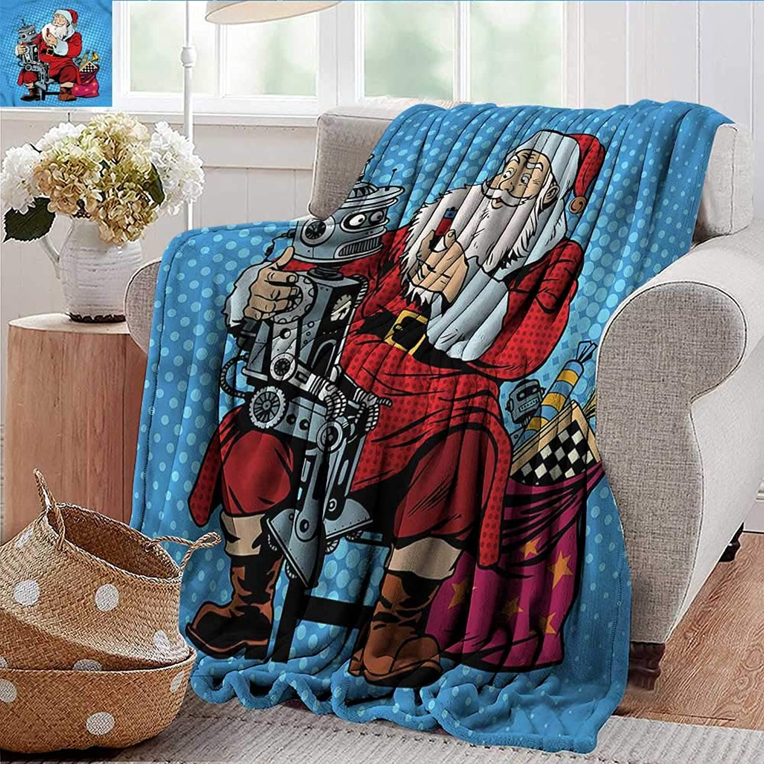 Xaviera Doherty Weighted Blanket for Kids Art,Santa Claus Giving a Gift Robot Soft Summer Cooling Lightweight Bed Blanket 50 x60
