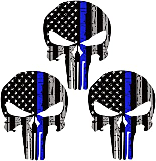 Bundle Reflective Die Cut Punisher Tattered with Thin Blue Line 3 Pack Decals for Cars, Helmets, Cups, 3 x 2 inch Skull US flag USA Decal Sticker Honoring Police Law Enforcement Window Bumper Vinyl