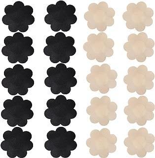 Nippleless Cover, 20 Pairs Self-Adhesive Disposable Bra Gel Petals Pad Pasties (Beige 10 Pairs + Black 10 Pairs)