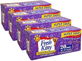 Fresh Kitty Super Thick, Durable, Easy Clean Up Jumbo Drawstring Scented Litter Pan Box Liners, Bags for Pet Cats, 80 ct