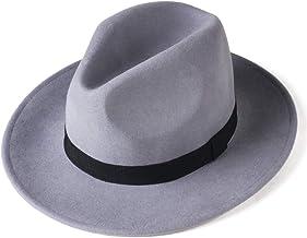 FURTALK Fedora Hats for Men Women 100% Australian Wool Felt Wide Brim Hat Leather Belt Crushable Packable