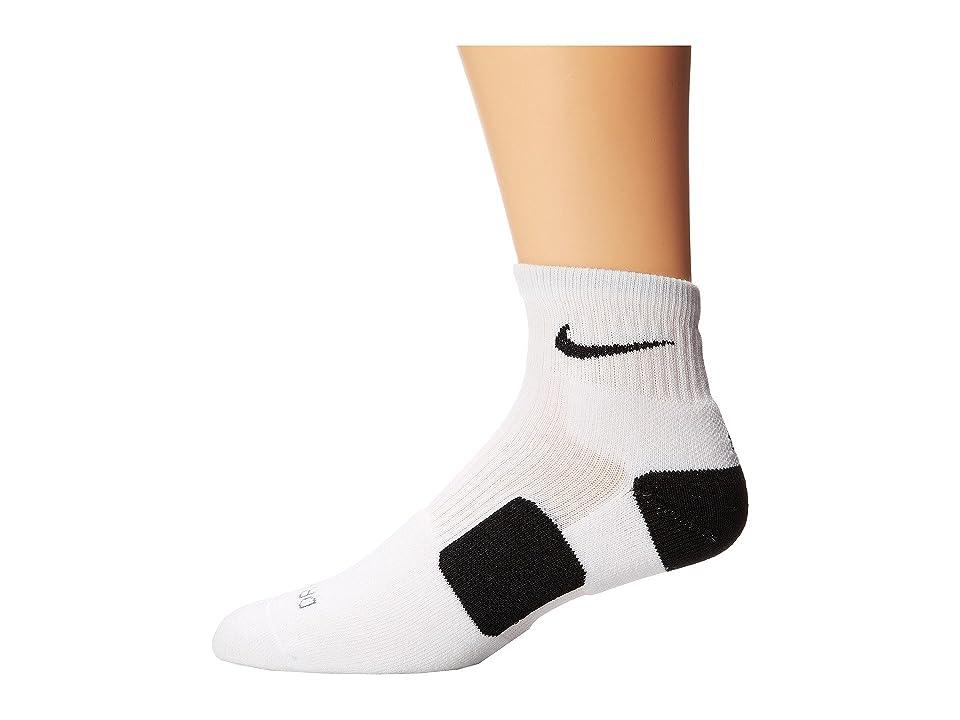 Nike Elite Basketball HQT (White/Black/Black) Quarter Length Socks Shoes