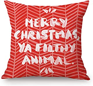 Asamour Merry Christmas Ya Filthy Animal Funny Quotes Cotton Linen Throw Pillow Case Cushion Cover Square Red Home Decorative 18''x18''
