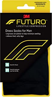 Futuro - Futuro54 Dress Socks for Men, Moderate Compression, 15-20 mm/Hg, Large, Black