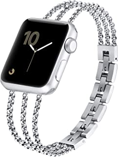 Compaible with Apple Watch Bands Bracelet 38mm 42mm /Iwatch Series 5 40mm 44mm Women Cuff, Stainless Steel Straps Wristband Compatible with Apple Watch Series 4 3 2 1