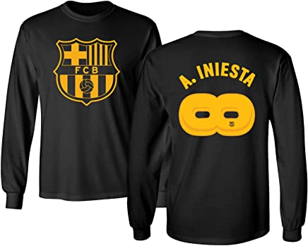 e94b57be3 BTA Apparel Soccer Barcelona Andrés Iniesta  8 Infinity Retirement Shirt  Jersey Style Men s Long Sleeve