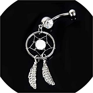 1pc High Crystal Dangle Surgical Steel Navel Ring Water Drop Butterfly Belly Button Rings Sexy Belly Bar Body Piercing Jewelry