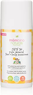 Mambino Organics SPF 30 Pure Mineral Face And Body Sunscreen Coral Reef Safe, Green Tea + Raspberry, 3.5 Fluid Ounces