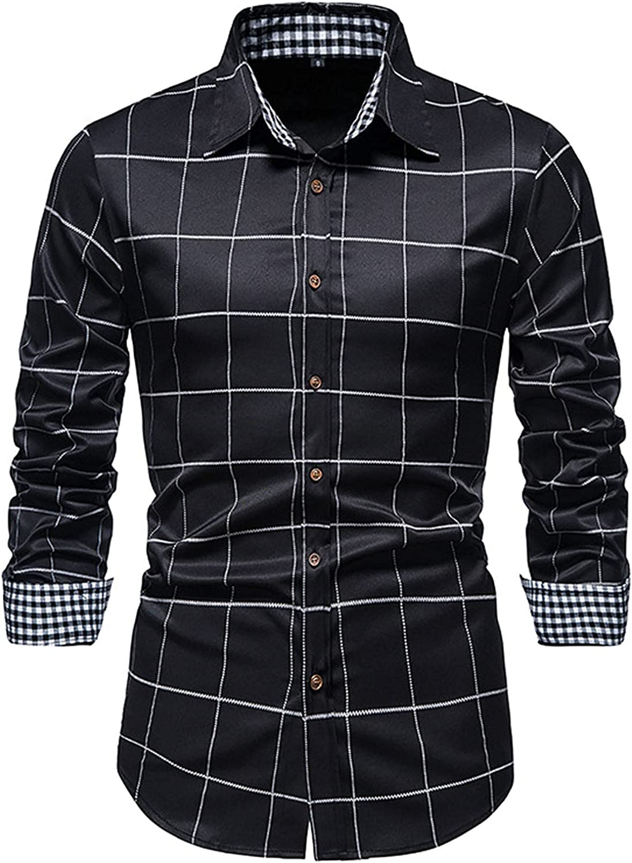 Men's Dress Shirt Regular Fit Ultra Wrinkle Free Flex Collar Stretch Slim Fit Non-Iron Cotton Check Dress Shirt