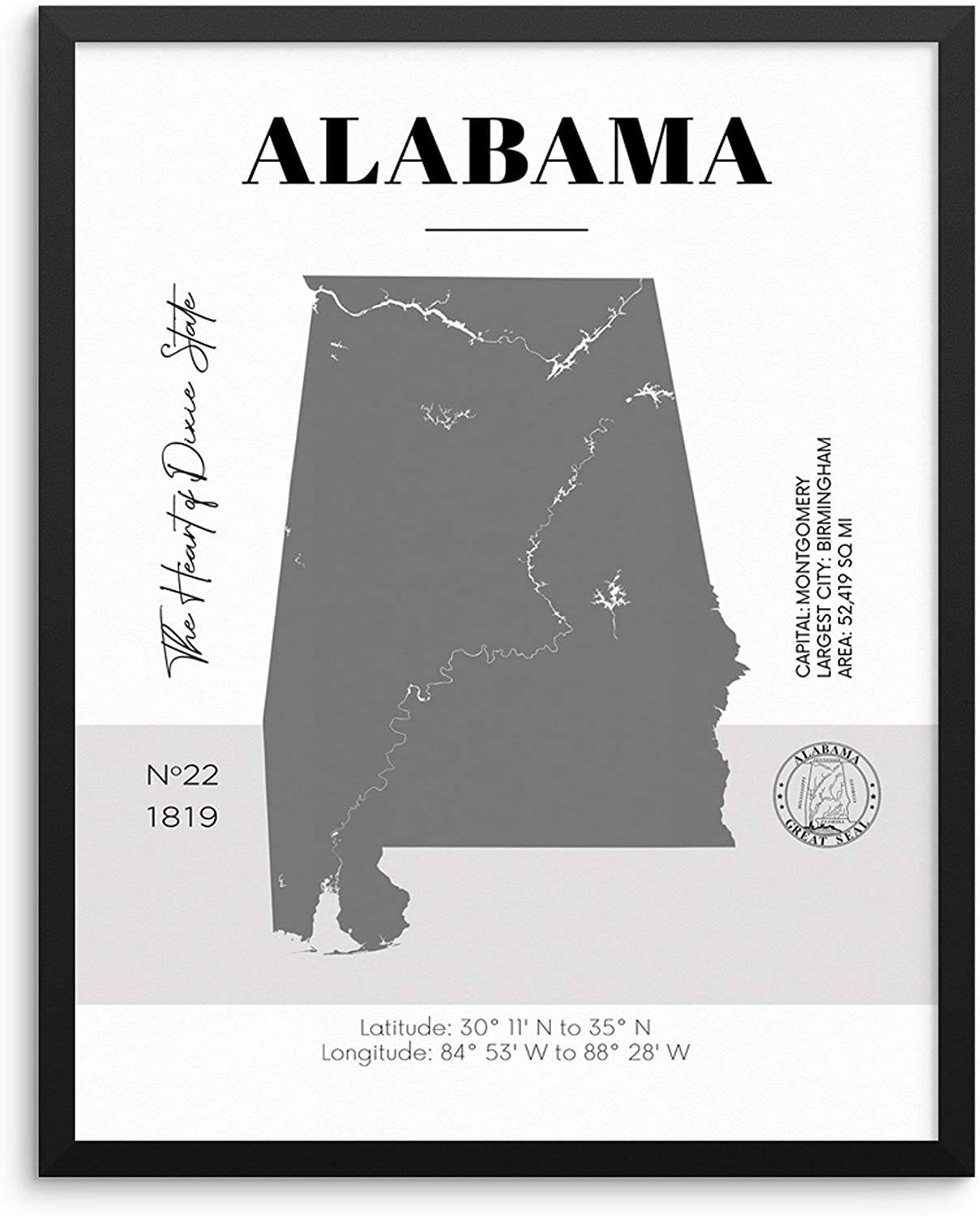 Alabama State Map Poster With Demographics Minimalist Home Decor Travel Art  Print 20x20 UNFRAMED Trendy Artwork for Bedroom Living Room Entryway ...