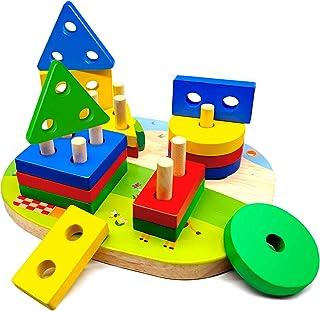Jouets en Bois Enfant 1 2 3 4 ans, Jouet Montessori de Développement Éducatif pour Bébés, Géométriques Forme Stack Tri et ...
