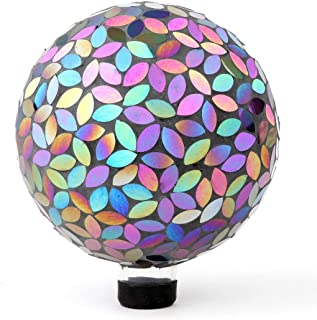 Lily's Home Colorful Mosaic Glass Gazing Ball, Designed with a Stunning Holographic Petal Mosaic Pattern to Bring Color to Any Home and Garden, Silver & Purple (10 Inches Dia.)
