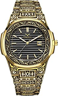 Men's Luxury Sports Calendar Military Quartz Watches Stainless Steel Waterproof Retro Wrist Watches